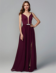 cheap -A-Line Y Neck Floor Length Chiffon Bridesmaid Dress with Split Front / Crystal Brooch