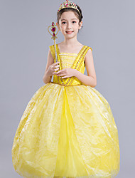cheap -Belle Cosplay Costume Flower Girl Dress Kid's Girls' A-Line Slip Dresses Mesh Christmas Halloween Carnival Festival / Holiday Silk Organza Yellow Carnival Costumes Lace / Cotton