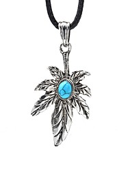 cheap -Men's Blue Turquoise Pendant Necklace Vintage Necklace Retro Leaf Vintage Cord Alloy Black 99 cm Necklace Jewelry 1pc For Daily Street