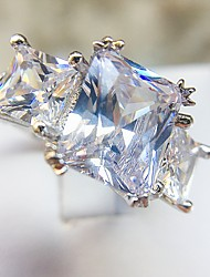 cheap -Women's Ring Diamond Cubic Zirconia 1pc Silver Copper Platinum Plated Imitation Diamond Four Prongs Vintage Romantic Hyperbole Evening Party Festival Jewelry Vintage Style Simulated Believe Cool