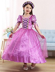 cheap -Princess Cosplay Costume Flower Girl Dress Kid's Girls' A-Line Slip Dresses Mesh Christmas Halloween Carnival Festival / Holiday Tulle Cotton Purple Carnival Costumes Lace
