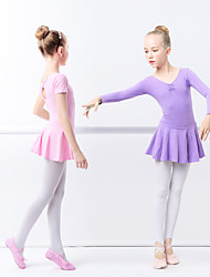 cheap -Ballet Dresses Girls' Training / Performance Elastane / Lycra Ruching / Wave-like Long Sleeve Dress