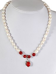 cheap -Red Agate Heart Necklace - Pearl Heart Luxury, Retro / Vintage, Fashion White For Event / Party Gift Women's