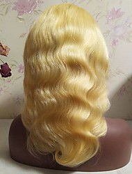 cheap -Virgin Human Hair Remy Human Hair Lace Front Wig Layered Haircut Middle Part Side Part Beyonce style Brazilian Hair Body Wave Blonde Wig 130% Density Soft Natural Natural Hairline African American