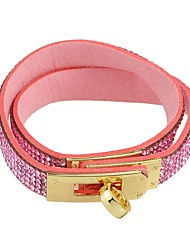 cheap -Women's Cubic Zirconia Wrap Bracelet Tropical Ladies Basic Fashion PU Leather Bracelet Jewelry Purple / Blue / Pink For Daily School