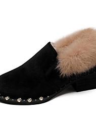 cheap -Women's PU(Polyurethane) Winter Casual Loafers & Slip-Ons Chunky Heel Rivet Black / Dark Green