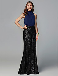 cheap -Sheath / Column High Neck Floor Length Chiffon / Sequined Bridesmaid Dress with Sequin