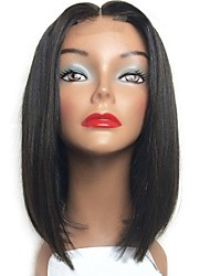 cheap -Remy Human Hair Lace Front Wig Bob Short Bob style Brazilian Hair Silky Straight Black Wig 130% Density with Baby Hair Middle Part Bob Silk Base Hair Natural Hairline Women's Short Human Hair Lace Wig