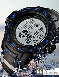 Недорогие -SKMEI Муж. электронные часы Цифровой Стеганная ПУ кожа Черный 50 m Защита от влаги Календарь Секундомер Цифровой На каждый день Мода - Черный Красный Синий / Хронометр / Фосфоресцирующий