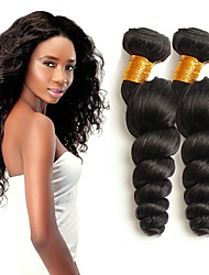 cheap -3 Bundles Indian Hair Loose Wave Human Hair Wig Accessories Natural Color Hair Weaves / Hair Bulk Hair Care 8-28 inch Natural Natural Color Human Hair Weaves Silky Smooth Natural Human Hair Extensions