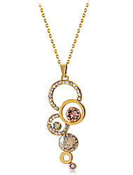 cheap -Women's Clear Crystal Pendant Necklace Hollow Out Gourd Romantic Fashion Elegant Gold Plated Imitation Diamond Austria Crystal Gold 43.5 cm Necklace Jewelry 7pcs 1pc For Daily Formal