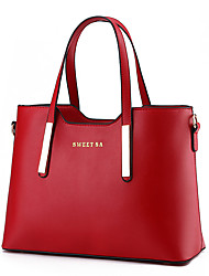 cheap -Women's Faux Leather Tote Solid Color Sky Blue / Wine / Khaki