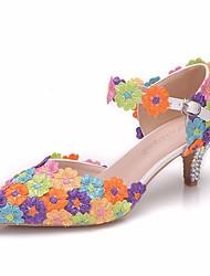 cheap -Women's Lace / PU(Polyurethane) Spring & Summer Sweet Wedding Shoes Low Heel Pointed Toe Rhinestone / Imitation Pearl / Buckle Rainbow / Camouflage