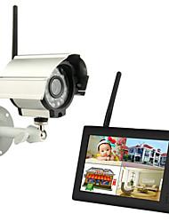 """Недорогие -Беспроводные 4-канальные четырехъядерные видеорегистраторы 1 камеры Pal 628x582 NTSC 510x492 с 7 """"800x480 TFT-LCD монитором Система домашней безопасности Pal NTSC встроенный микрофон"""