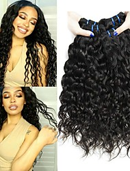 cheap -3 Bundles Brazilian Hair Water Wave Human Hair Unprocessed Human Hair Wig Accessories Headpiece Natural Color Hair Weaves / Hair Bulk 8-28 inch Natural Color Human Hair Weaves Soft Designs Easy / 8A