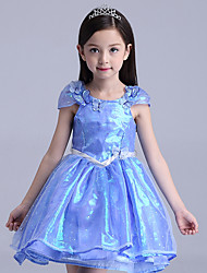 cheap -Princess Cinderella Cosplay Costume Flower Girl Dress Kid's Girls' A-Line Slip Dresses Mesh Christmas Halloween Carnival Festival / Holiday Tulle Cotton Blue Carnival Costumes Lace