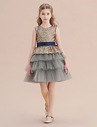 cheap -A-Line Knee Length Christmas / Party / Pageant Flower Girl Dresses - Tulle / Sequined Sleeveless Jewel Neck with Belt / Tier / Paillette
