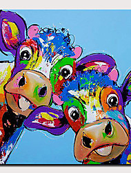 cheap -Oil Painting Hand Painted - Abstract / Pop Art Modern Rolled Canvas