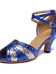 cheap -Women's Latin Shoes Heel Glitter Cuban Heel Rainbow Ankle Strap Sparkling Shoes