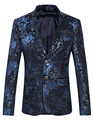 abordables -Homme Quotidien / Soirée Sophistiqué Printemps / Automne Grandes Tailles Normal Blazer Revers Cranté Manches Longues Coton Imprimé Violet / Bleu / Mince