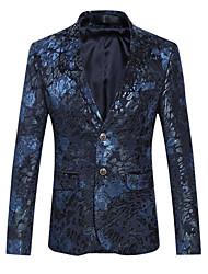 cheap -Men's Daily / Club Sophisticated Spring / Fall Plus Size Regular Blazer Notch Lapel Long Sleeve Cotton Print Purple / Blue / Slim