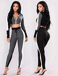cheap -Women's High Waist Tracksuit Yoga Suit 2-Piece Full Zip Grey Running Fitness Gym Workout Leggings Crop Top Long Sleeve Sport Activewear Butt Lift Tummy Control Squat Proof High Elasticity Skinny
