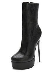 cheap -Women's Boots Stiletto Heel Round Toe PU Mid-Calf Boots Spring &  Fall Black / Dark Red / Light Blue / Party & Evening