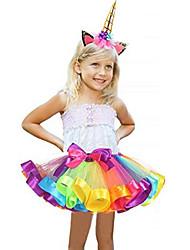 cheap -Carnival Unicorn Costume Flower Girl Dress Kid's Girls' A-Line Slip Halloween Halloween Carnival Masquerade Festival / Holiday Tulle Polyster Purple / Blue / Purple / Red Female Carnival Costumes