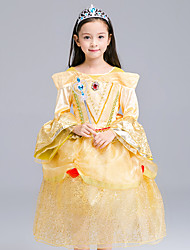 cheap -Princess Cosplay Costume Flower Girl Dress Kid's Girls' A-Line Slip Dresses Mesh Christmas Halloween Carnival Festival / Holiday Organza Cotton Yellow Carnival Costumes Lace
