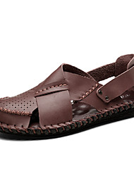cheap -Men's Comfort Shoes Cowhide Spring & Summer Sporty / Casual Sandals Breathable Black / Brown / Coffee