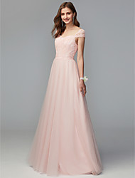 cheap -A-Line Sweetheart Neckline Floor Length Lace / Tulle Bridesmaid Dress with Lace / Pleats