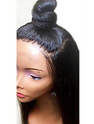 cheap -Synthetic Lace Front Wig Straight / Yaki Straight Kardashian Style Layered Haircut Lace Front Wig Black Natural Black Dark Brown Synthetic Hair 18 inch Women's Soft / Heat Resistant / Natural Hairline