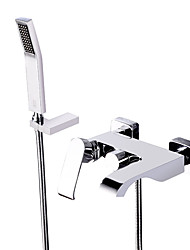 cheap -Bathtub Faucet - Contemporary Chrome Wall Mounted Ceramic Valve Bath Shower Mixer Taps / Brass / Single Handle Three Holes