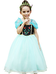 cheap -Anna Cosplay Costume Flower Girl Dress Kid's Girls' A-Line Slip Dresses Mesh Christmas Halloween Carnival Festival / Holiday Organza Cotton Green Carnival Costumes Lace