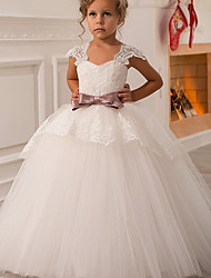 cheap -Ball Gown / Princess Floor Length Flower Girl Dress - Polyester / Lace Sleeveless Square Neck with Bow(s) / Lace