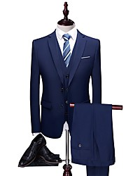 cheap -Dark Navy Solid Colored Tailored Fit Polyester Suit - Notch Single Breasted Two-buttons / Suits