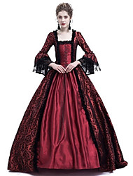 cheap -Queen Cosplay Duchess Vintage Inspired Medieval Ball Gown Dress Costume Women's Lace Costume Black / Purple / Ink Blue Vintage Cosplay Party Prom Long Sleeve Floor Length Plus Size Customized