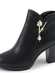 cheap -Women's PU(Polyurethane) Winter Casual Boots Chunky Heel Mid-Calf Boots Rhinestone Black / Red
