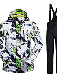 cheap -Men's Ski Jacket with Pants Skiing Snowboarding Winter Sports Waterproof Windproof Warm POLY Clothing Suit Ski Wear