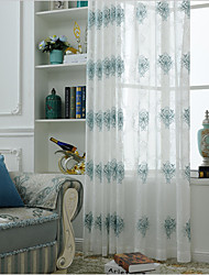 cheap -Two Panel European Style Embroidered Yarn Curtain Semi-Transparent Living Room Bedroom Children's Room Yarn Curtain
