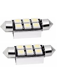 Недорогие -2pcs 39mm Автомобиль Лампы 1 W SMD 5050 80 lm 6 Светодиодная лампа Задний свет / Внутреннее освещение Назначение Универсальный Универсальный Универсальный