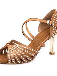 cheap -Women's Dance Shoes Satin Latin Shoes Crystals Heel / Sneaker Slim High Heel Customizable Brown / Performance / Leather / EU36