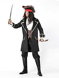 cheap -Pirate Men's Adults' Highschool Halloween Christmas Christmas Halloween Carnival Festival / Holiday Polyster Outfits Black Solid Colored Christmas