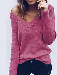cheap -Women's Daily Basic T-shirt - Solid Colored Fashion / Loose Fit Deep V Blushing Pink / Spring / Summer / Fall