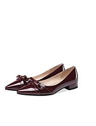 cheap -Women's Nappa Leather Summer British Flats Low Heel Closed Toe Black / Wine