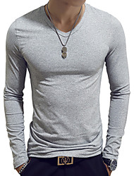 cheap -Men's T shirt Graphic Solid Colored Plus Size Long Sleeve Daily Tops Cotton Basic White Black Wine