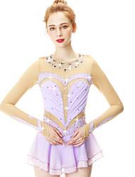 cheap -Figure Skating Dress Women's Girls' Ice Skating Dress Violet Spandex Stretch Yarn High Elasticity Skating Wear Handmade Fashion 3/4 Length Sleeve Ice Skating Winter Sports Figure Skating / Kid's