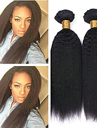 cheap -6 Bundles kinky Straight Human Hair Unprocessed Human Hair Wig Accessories Headpiece Natural Color Hair Weaves / Hair Bulk 8-28 inch Natural Color Human Hair Weaves New Arrival Hot Sale 100% Virgin