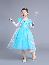cheap -Cinderella Cosplay Costume Flower Girl Dress Kid's Girls' A-Line Slip Dresses Christmas Halloween Carnival Festival / Holiday Tulle Cotton LightBlue Carnival Costumes Princess