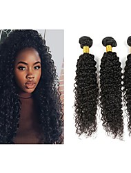 cheap -4 Bundles Kinky Curly Human Hair Unprocessed Human Hair Headpiece Natural Color Hair Weaves / Hair Bulk Hair Care 8-28 inch Natural Color Human Hair Weaves Waterfall Silky Best Quality Human Hair